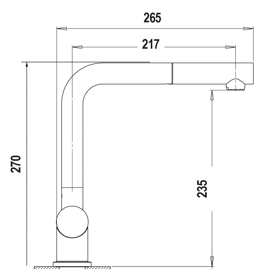 Disegno tecnico AQUAINOX DOCCIA ACCIAIO INOX MASSICCIO  Cod. SXINOXDIX