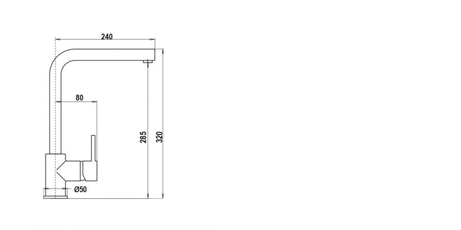 Disegno tecnico AQUATOWN CROMATO  Cod. SXTOWN80