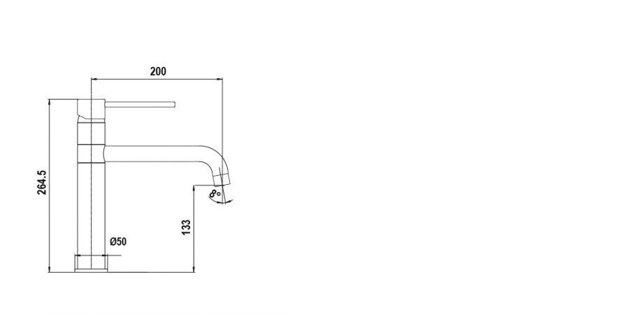 Disegno tecnico AQUAFONT CROMATO  Cod. 40250.80