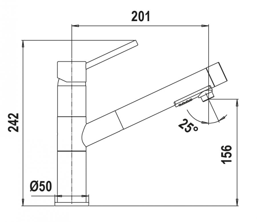Disegno tecnico NEW AQUAFLEX NERO PURO  Cod. SXFLEX84