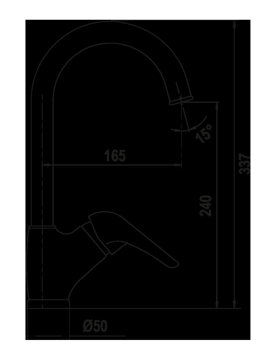 Disegno tecnico AQUAMAX ANTRACITE  Cod. 40160.51