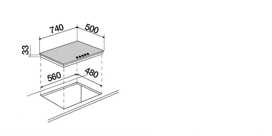 Disegno tecnico Professional PC75 AVG LATERALE INOX  Cod. STR85THIX