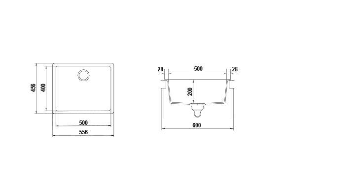 Disegno tecnico Vasche GALAXY N100L NERO PURO  Cod. GALN100LA84