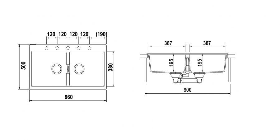 Disegno tecnico Horizont N200 NERO PURO  Cod. HONN200A84