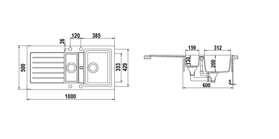 Disegno tecnico TYPOS D150 BIANCO ALPINA  Cod. TYPD150AP07