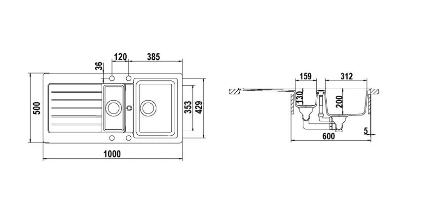 Disegno tecnico TYPOS D150 NERO MAT  Cod. TYPD150AP14